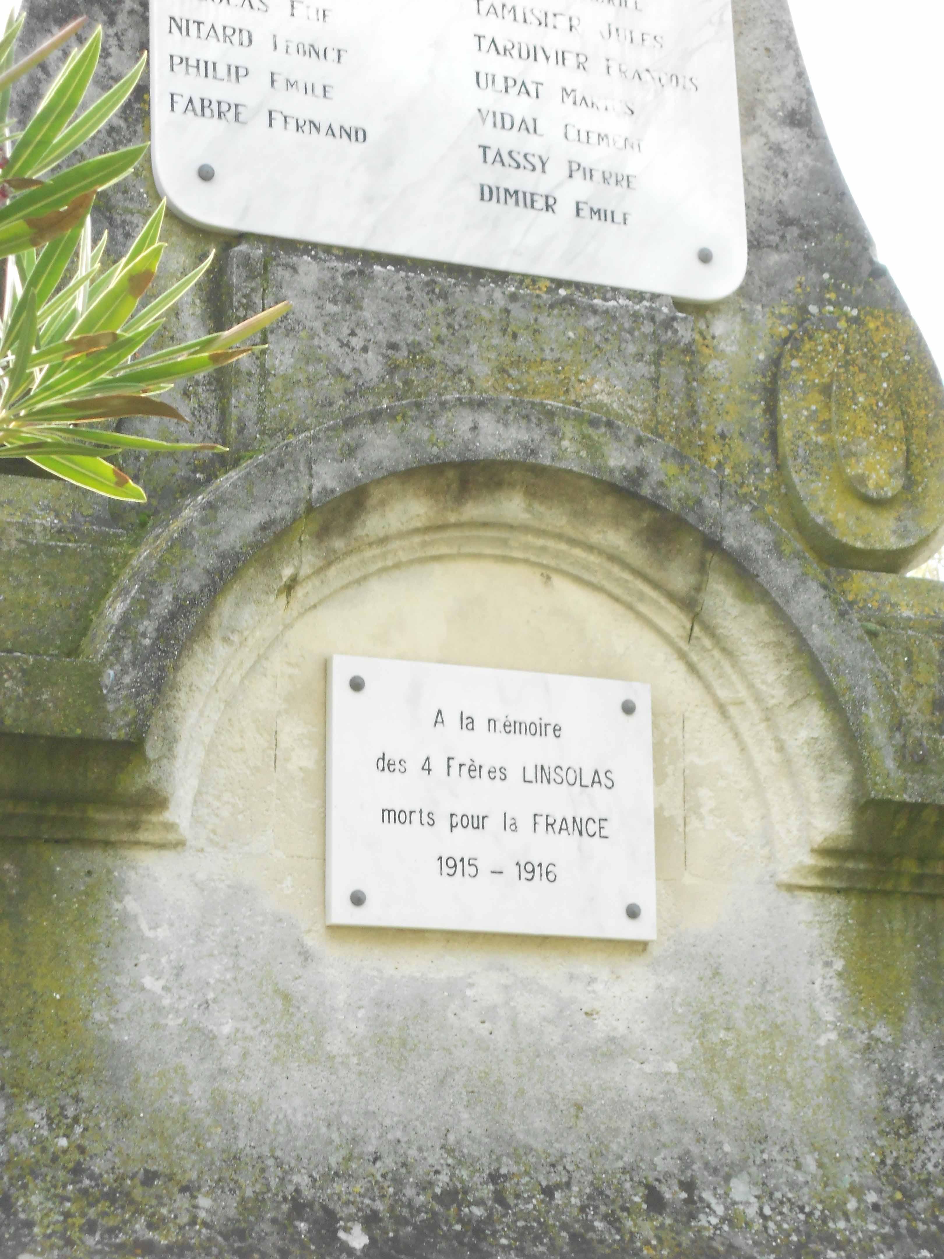 Monuments aux Morts pour la France Famille Linsolas Le Thor